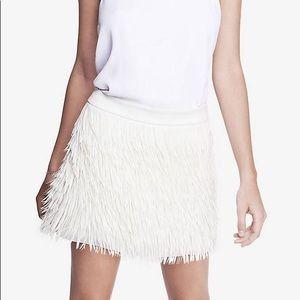 Express White Ostrich Feather Fringe Mini Skirt